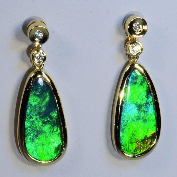 BRIGHT Australian Opals SOLID 18k Yellow Gold & Diamond Earrings (14967)
