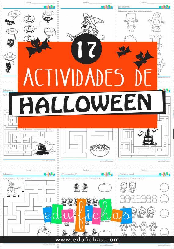 Recopilación de 17 fichas de actividades de Halloween variadas. Fichas con dibujos de brujas, fantasmas, niños, calabazas... y actividades educativas varias