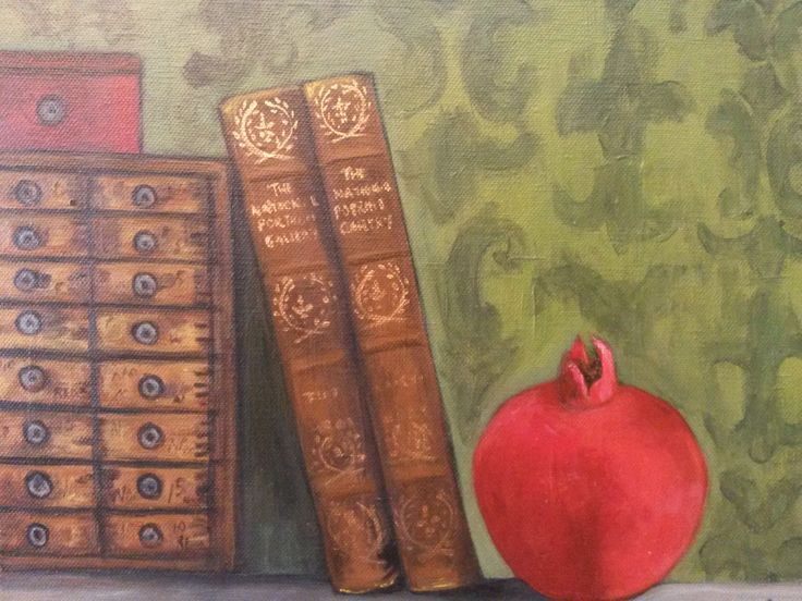 """""""Pomegranate with books"""" Acrylics on canvas"""