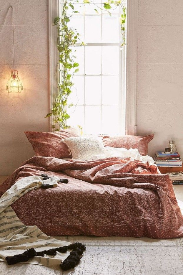 Love this look! For similar bedding try: http://www.naturalbedcompany.co.uk/product-category/bedding/indian-cotton-silk-duvet-covers/