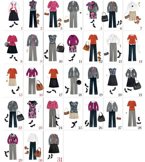 Since we were talking about a minimalist wardrobe and mixing and matching things earlier today, I just had to share this with. I found a post on Pinterest where Lucky magazine took 13 different clothing items and made 31 different outfits.
