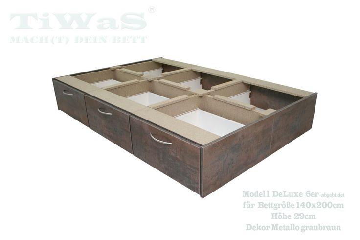 Schubladensockel DeLuxe für Wasserbett 140x200 cm METALLO GRAUBRAUN Höhe 29 cm