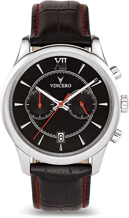 8a90a1494d90 Amazon.com  Vincero Luxury Men s Bellwether Wrist Watch — Black Red dial  with Black Leather Watch Band — 43mm Chronograph Watch — Japanese Quartz  Movement  ...