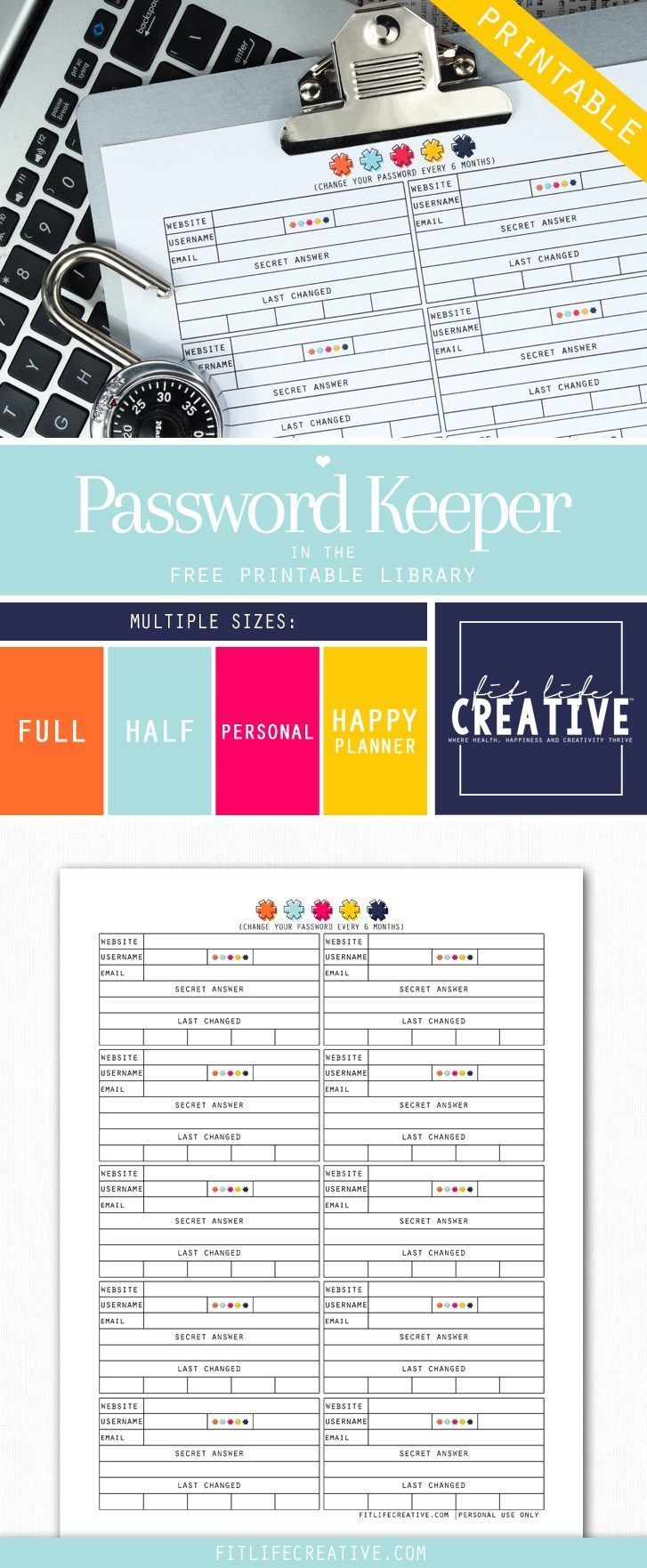 password keeper template