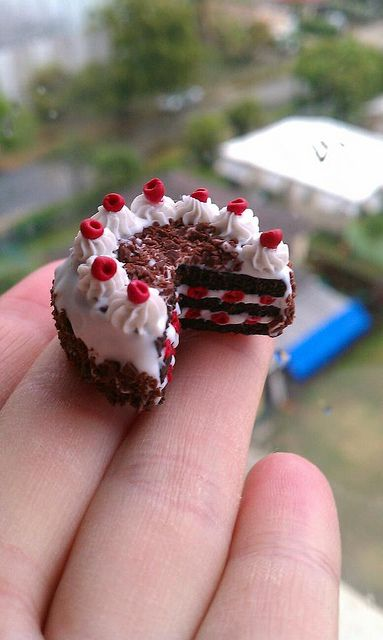 Clay Miniatures | Black Forest polymer clay miniature cake | Flickr - Photo Sharing!