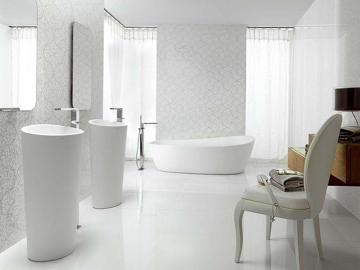 Elegant bathroom with porcelanosa 39 s tiles floor tiles crystal flower white wall tiles for Porcelanosa floor tiles