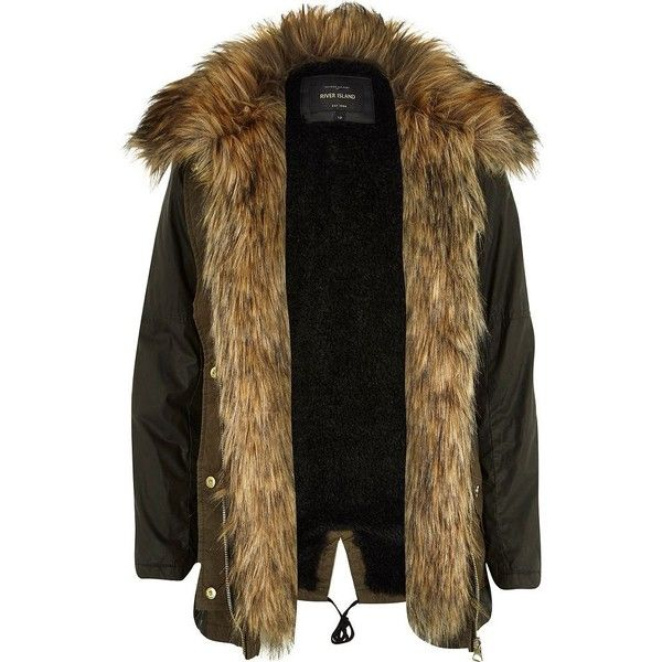 River Island Khaki faux fur lined parka coat ($77) ❤ liked on Polyvore featuring outerwear, coats, jackets, coats & jackets, parka, sale, brown coat, khaki parka, faux fur trim parka and faux fur lining coat