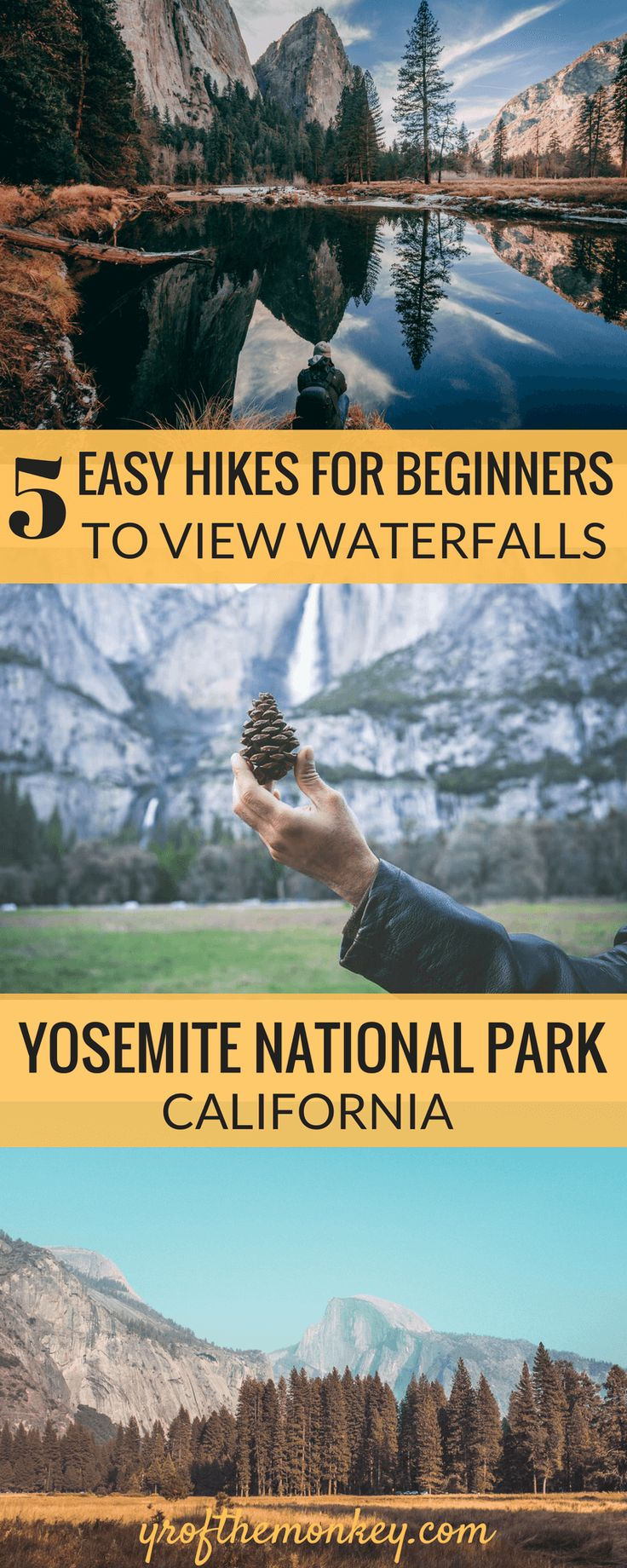 Looking for easy Yosemite hikes to see some gorgeous waterfalls and other attractions in Yosemite National Park, California? This post with 5 such easy to moderate day hikes in and around Yosemite valley has you covered if you are a non hiker! Includes a hike to a secret waterfall where there is practically no one! Pin this post to your California or US national parks board! #yosemitenationalpark #yosemitehiking #easydayhikes #californiatravel #USA #USnationalparks