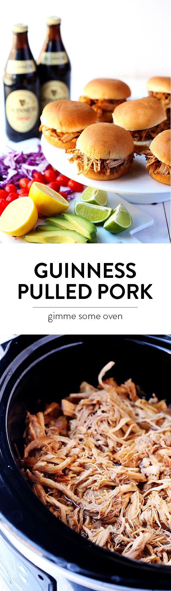 Slow Cooker Guinness Pulled Pork -- super easy to make in the slow cooker, and perfect on sandwiches, or serving on St. Patrick's Day, or whatever sounds good! | gimmesomeoven.com