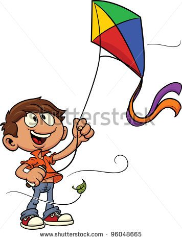 Cartoon kid playing with kite. Vector illustration. All in a single layer.