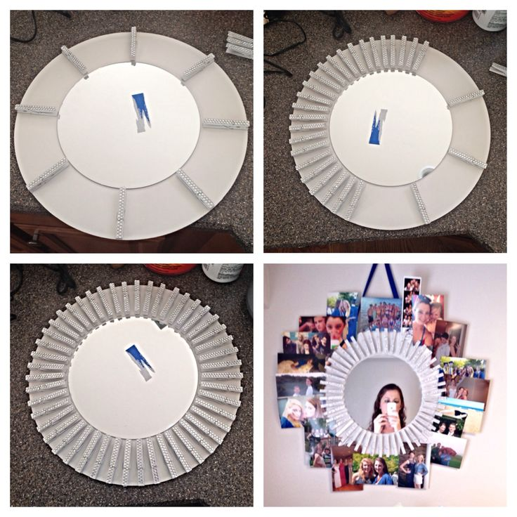 DIY Picture Frame with clothes pins! Perfect for a college dorm.