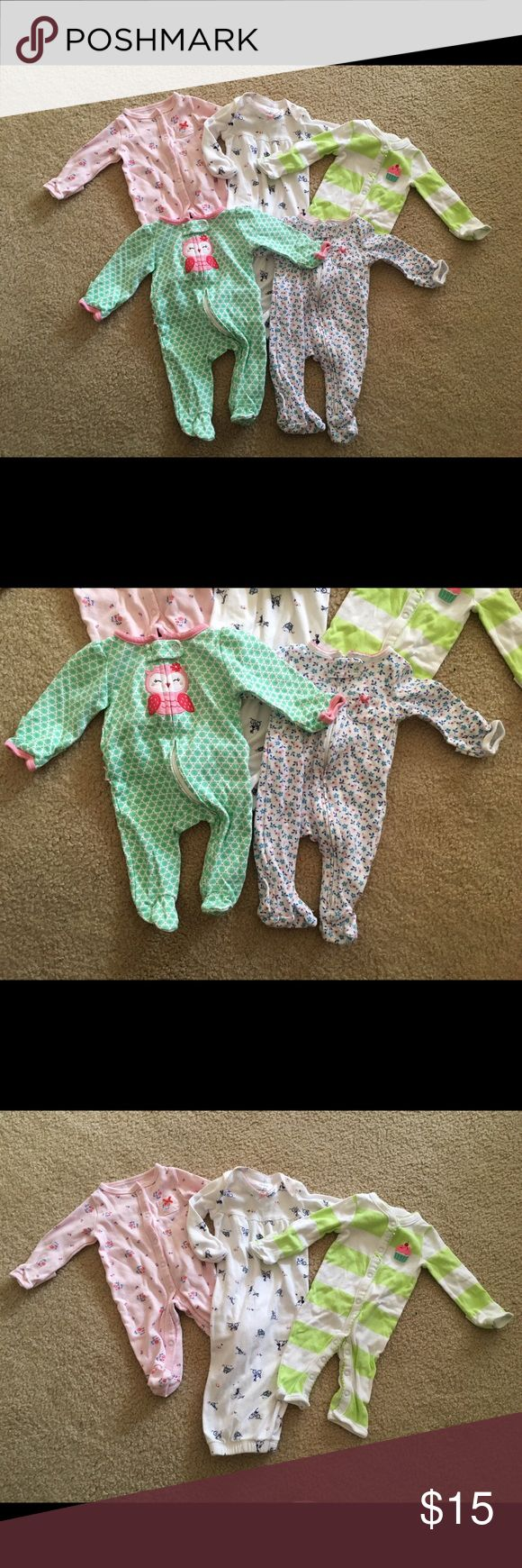 Newborn baby girl pajama bundle Bundle of baby girl pajamas and sleeping gown. All size newborn and are in excellent condition Pajamas