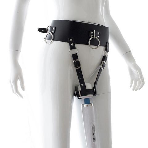 PU Leather Forced Orgasm Belt Female Chastity Belt Magic Wand Holder BDSM Adult Novelty