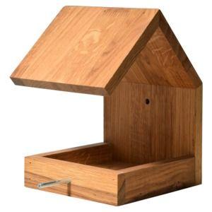 LUXUS-VOGELHAUS Eichenholz-Vogelhaus mit Satteldach und Anflugstange Vogelfutterhaus kaufen im real,- Onlineshop