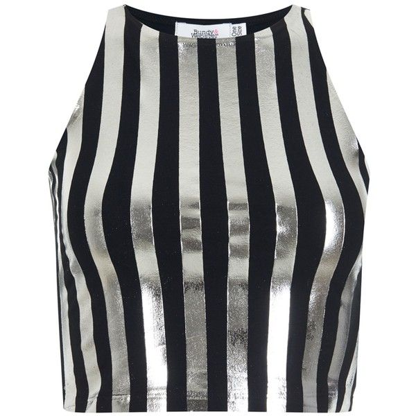 Bundy & Webster - Metallic Striped Tank Top ($31) ❤ liked on Polyvore featuring tops, crop top, shirts, metallic crop top, stripe top, shirts & tops and shirt crop top