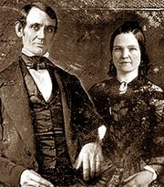 """Wedding day photograph of Abraham Lincoln and Mary Todd taken November 4, 1842 in Springfield, Illinois"""