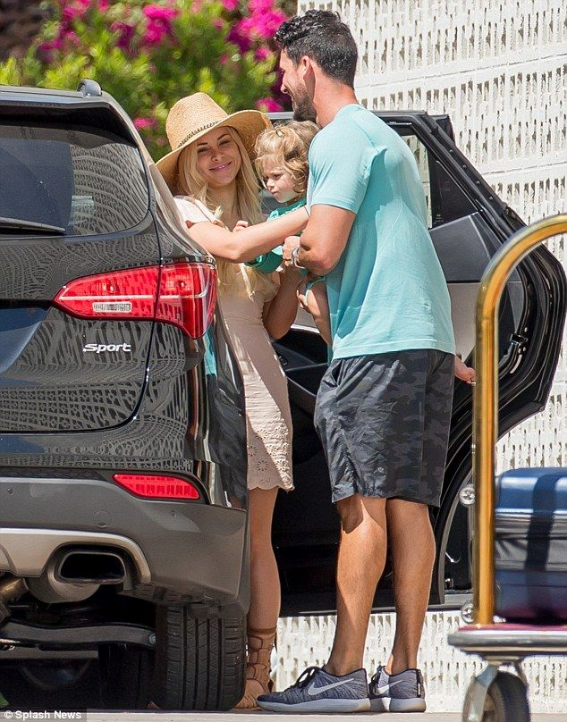 Still going strong: Amanda Stanton and Josh Murray were seen leaving the Parker hotel in Palm Springs, California on Sunday with her two children