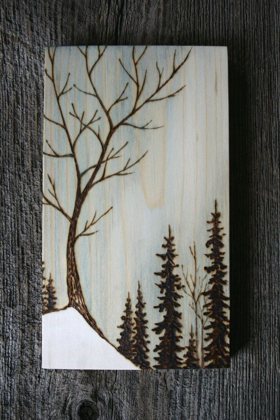 Awaiting Spring Art Block Wood burning by TwigsandBlossoms