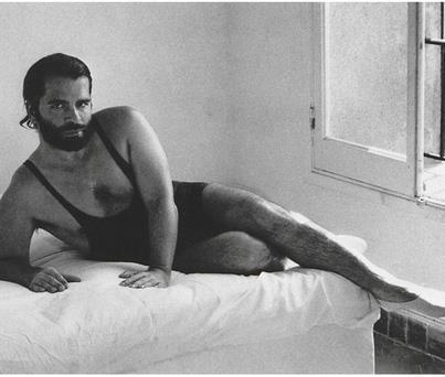 The irony of seeing the designer himself in a model pose / Karl Lagerfield shot by Helmut Newton