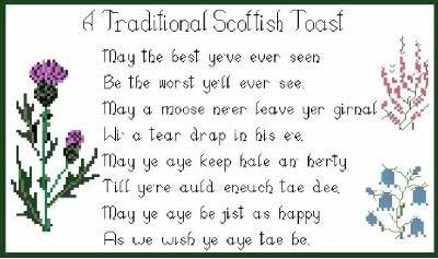Traditional Scottish Toast Cross Stitch Print Poster