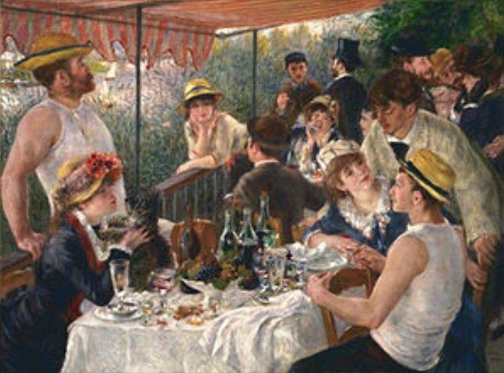 El cuadro se llama el Almuerzo de los remeros,  muestra un grupo de amigos de Renoir descansando en una terraza del restauranteMaison Fournaise sobre el ríoSenaenChatou, Francia. La escena muestra un clima de alegría popular.