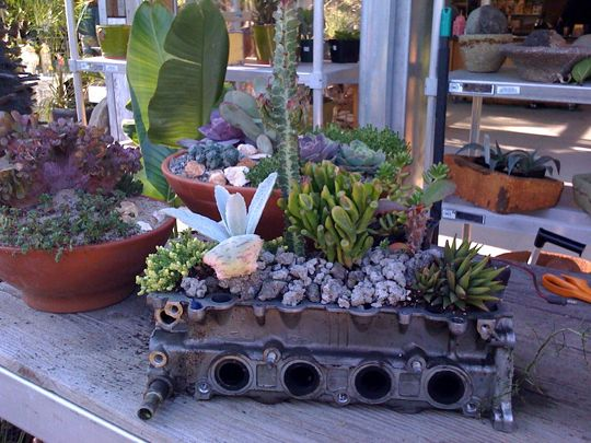 car parts recycled into planters