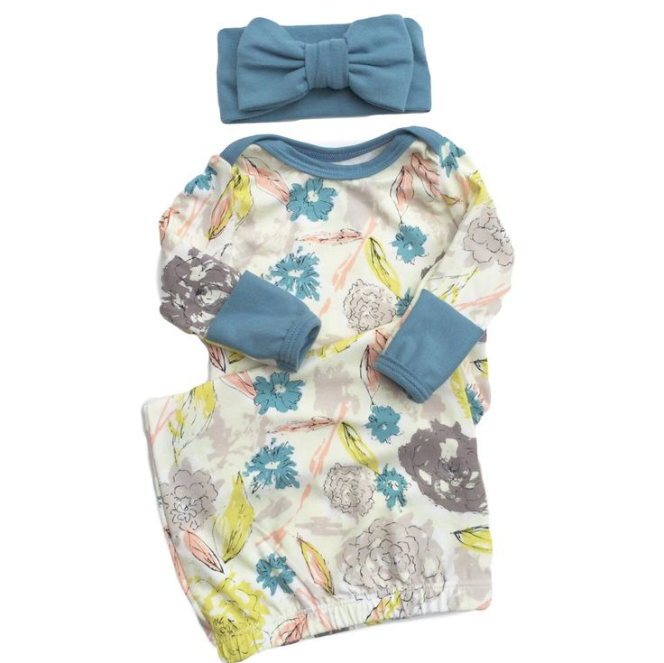 Paper Flowers Layette Gown with Dusty Blue Accents