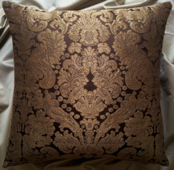 Throw Pillow Cushion Cover Silk Brocatelle Rubelli Fabric Brown and Gold Tebaldo Pattern - Made in Italy by OggettiVeneziani on Etsy