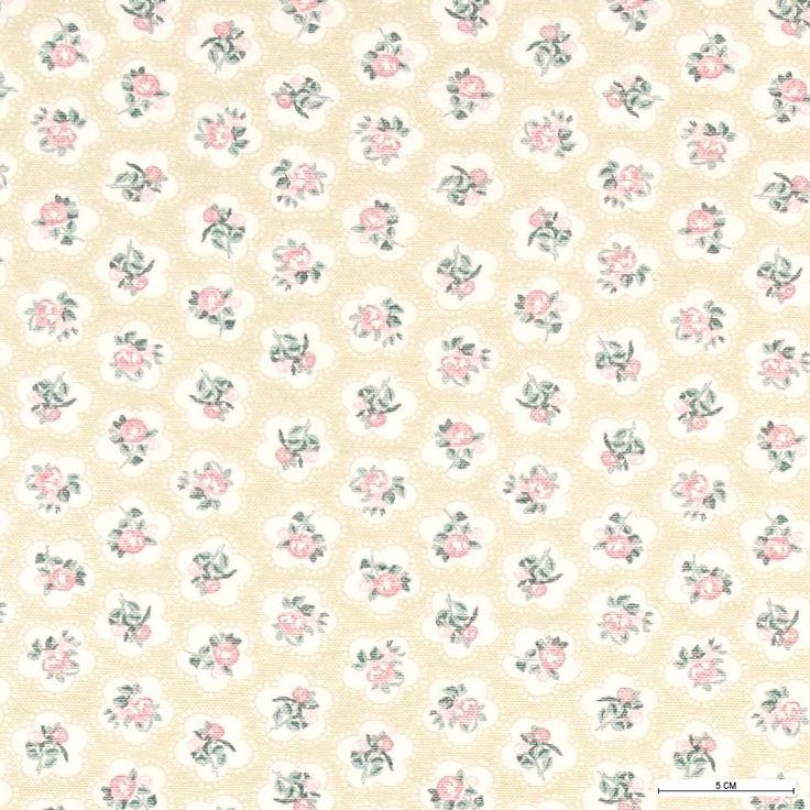 870256 Tekstilvoksdug støvet grøn m blomster