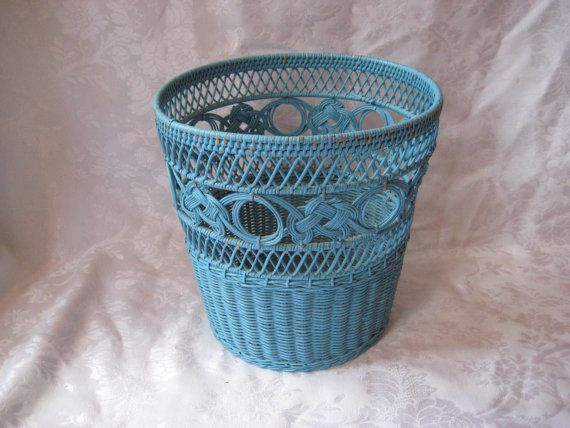 Vintage blue wicker trash can waste paper basket shabby chic decor - Wicker trash basket ...