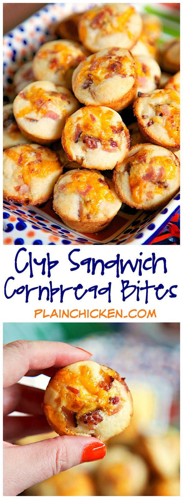 Club Sandwich Cornbread Bites Recipe - Martha White Cornbread mix topped with a ham, turkey, bacon, cheese and honey mustard mixture baked in mini muffin pans. Serve with additional honey mustard. GREAT for tailgating, brunch, baby showers or any other type of party. We've also eaten these for lunch and dinner. Ready in under 15 minutes!