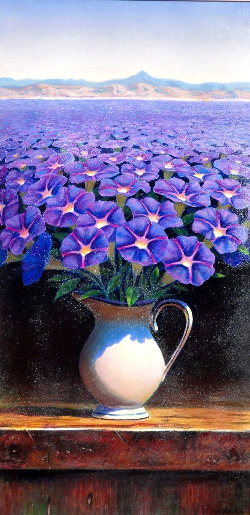 A Wish, Morning Glory by Ernesto Arrisueno (Peru, 1957–). Oil on canvas, 76 x 35 cm. Magic Realism