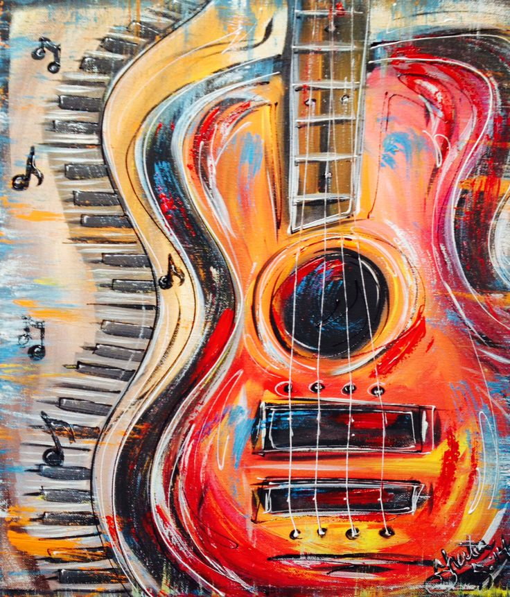 Funky Abstract, colorful Guitar and keyboard, with music notes. *Hand Painted* by SheilaSmithDesigns on Etsy https://www.etsy.com/listing/217059165/funky-abstract-colorful-guitar-and