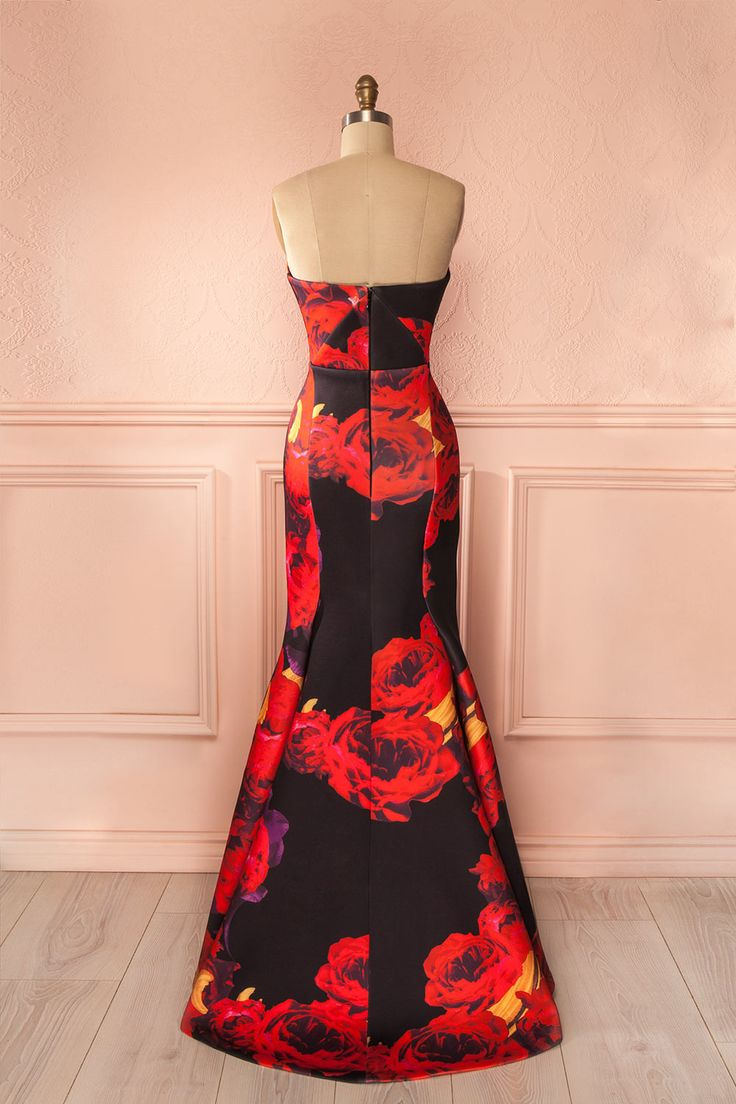 Robe longue soirée imprimé fleurs rouge noir neoprene flamenco - Maxi evening black red flower print neoprene flamenco dress