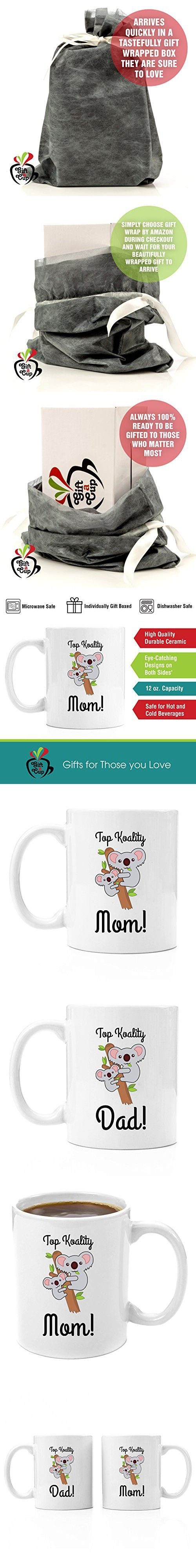Top Koality Mom and Dad Ceramic Coffee Mug Gift Set | Premium Coffee Mug Gift Set - Perfect Birthday Gifts for Mom and Dad, Anniversary Gifts for Parents, New Parents Gifts, Dad to be Gifts