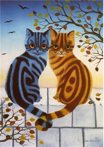 Art by Anna Hollerer. #autumn #art #cute #cats
