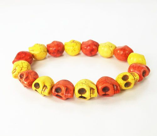 7.5inch New Products Gift Cool Red Yellow Turquoise Skulls Beads Stretchy Bracelet ZZ224 by AnneJewelryAcc, $3.95