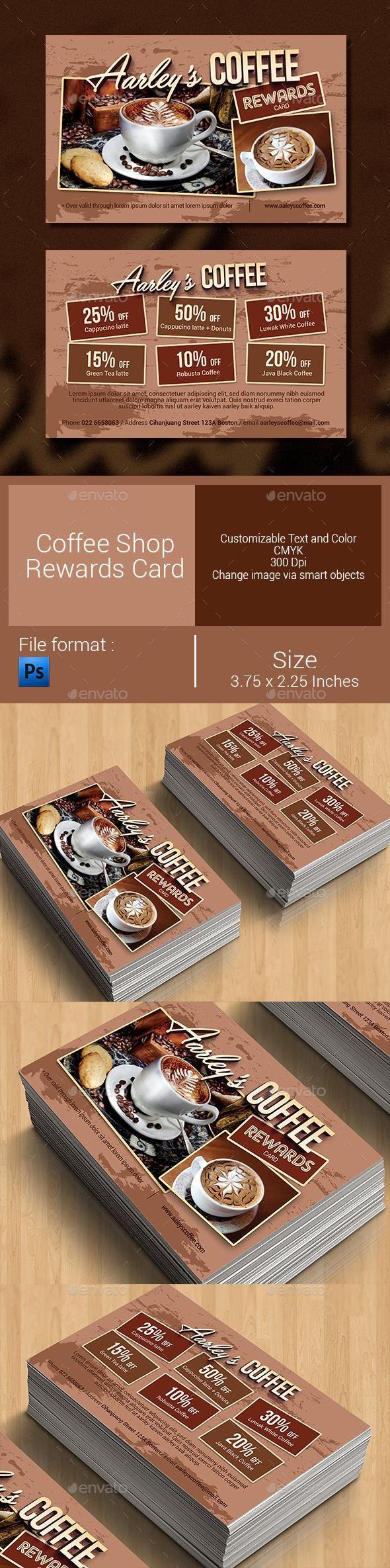 Coffee Shop Rewards Card  #template #cards #print #invites