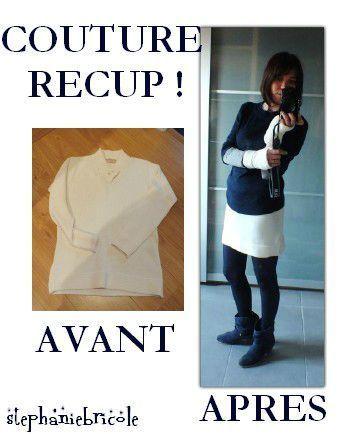 couture recup, idée couture recup, comment couper un pull, transformer un pull en jupe
