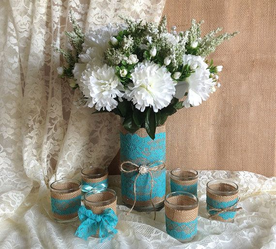 Deep Turquoise blue lace and natural burlap covered vase and tea candles wedding, bridal shower table decor
