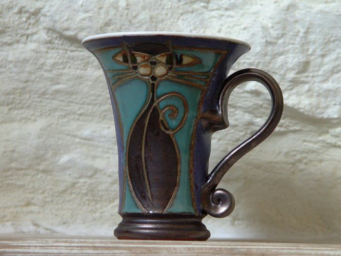 Blue Wheel Thrown Pottery Mug with Hand Painted Cat, Handmade Mug