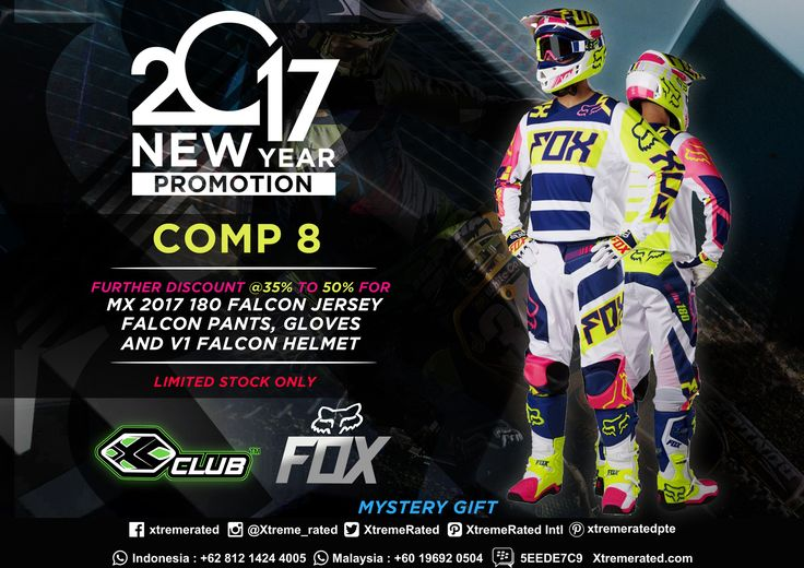 2017 New Year Promotion Buy FOX COMP 8 and get further discount @ 35% to 50% for MX 2017 180 Falcon Jersey & Pants, Gloves, and V1 Falcon Helmet *Limited stock only Available now in all XCLUB leading stores  #xtremerated #xclub #adventure #extremesports #foxracing #foxhead #foxcomp8 #falcon #jersey #pants #gloves #helmet #promotion #moto #motocross #dirtbike #enduro