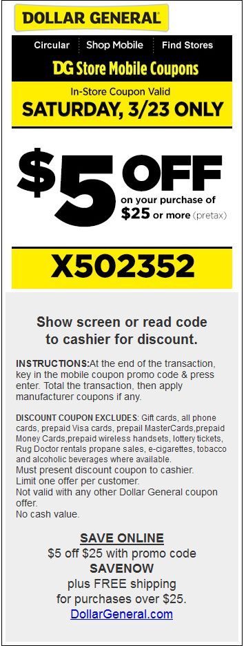 $5 Off $25 Today At Dollar General, Or Online Via Promo Code SAVENOW Coupon  Via