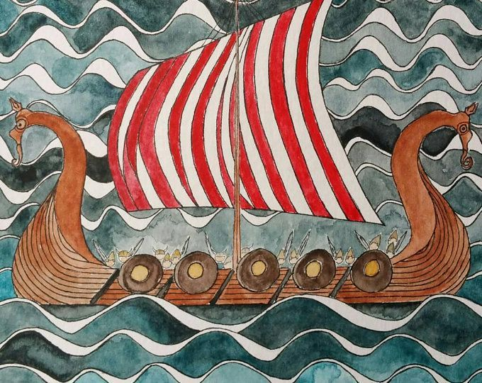 Viking Ship Original Watercolor Painting Historical Scandinavian Art This Ancient Mar Original Watercolor Painting Watercolor Paintings Original Watercolors