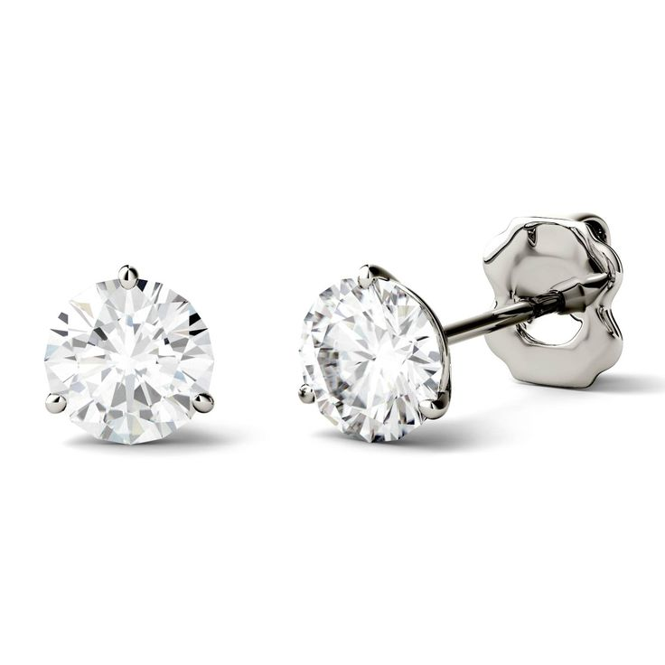 Charles & Colvard 14k Gold 2ct DEW Round Forever One Colorless Moissanite Martini Stud Earrings