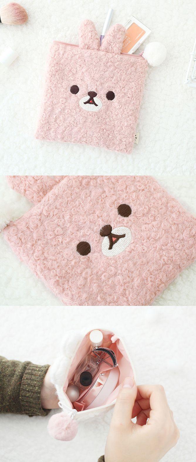 Animal Face Pom Pom Pouch