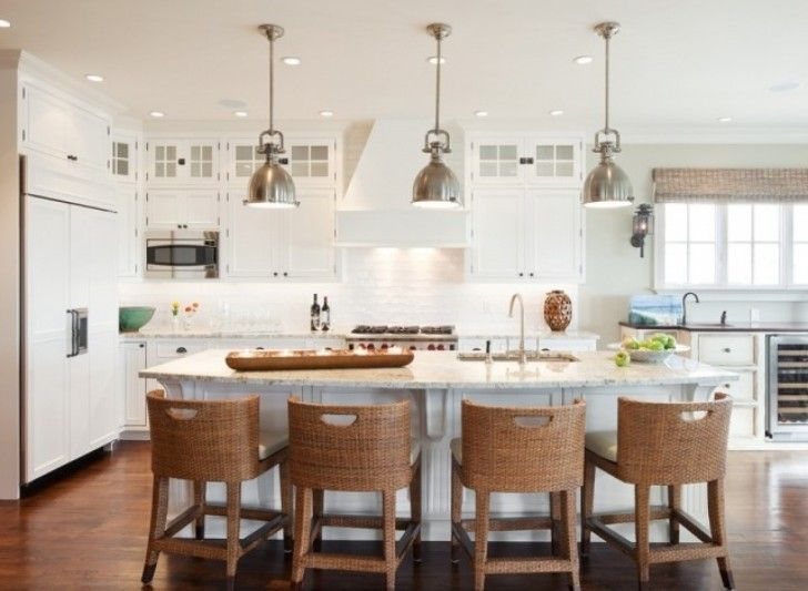 Great White Color Scheme Kitchen With Contemporary White Island That Have Curved Shaped Faucets And Creative Handmade Brown Wood Stools Complete With The White Seat Cushions Accessories
