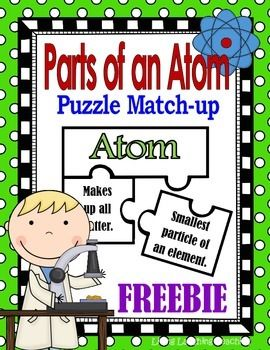 Here is a useful activity to review the parts of an atom.  This activity is meant to be utilized as a center or group activity.  Students are to place the puzzle pieces together according to the description of each part of the atom: atom, proton, neutron, electron and nucleus.