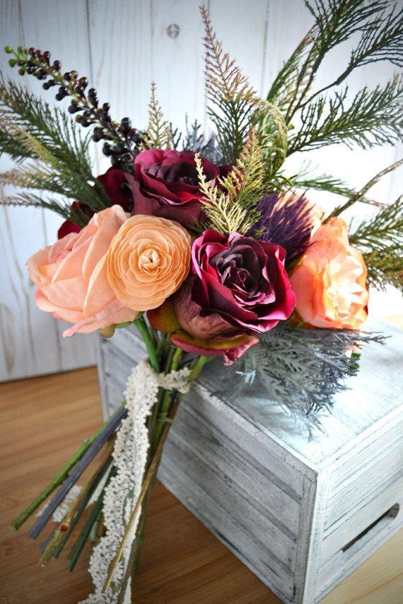 Marsala Peach Wedding   Woodland Burgundy Bouquet   Thistle Wedding   Marsala Woodland   Marsala Burgundy   Marsala Navy