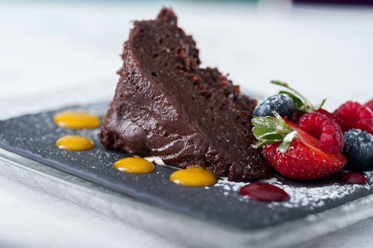 Chocolate nemesis, berries and creme fraiche